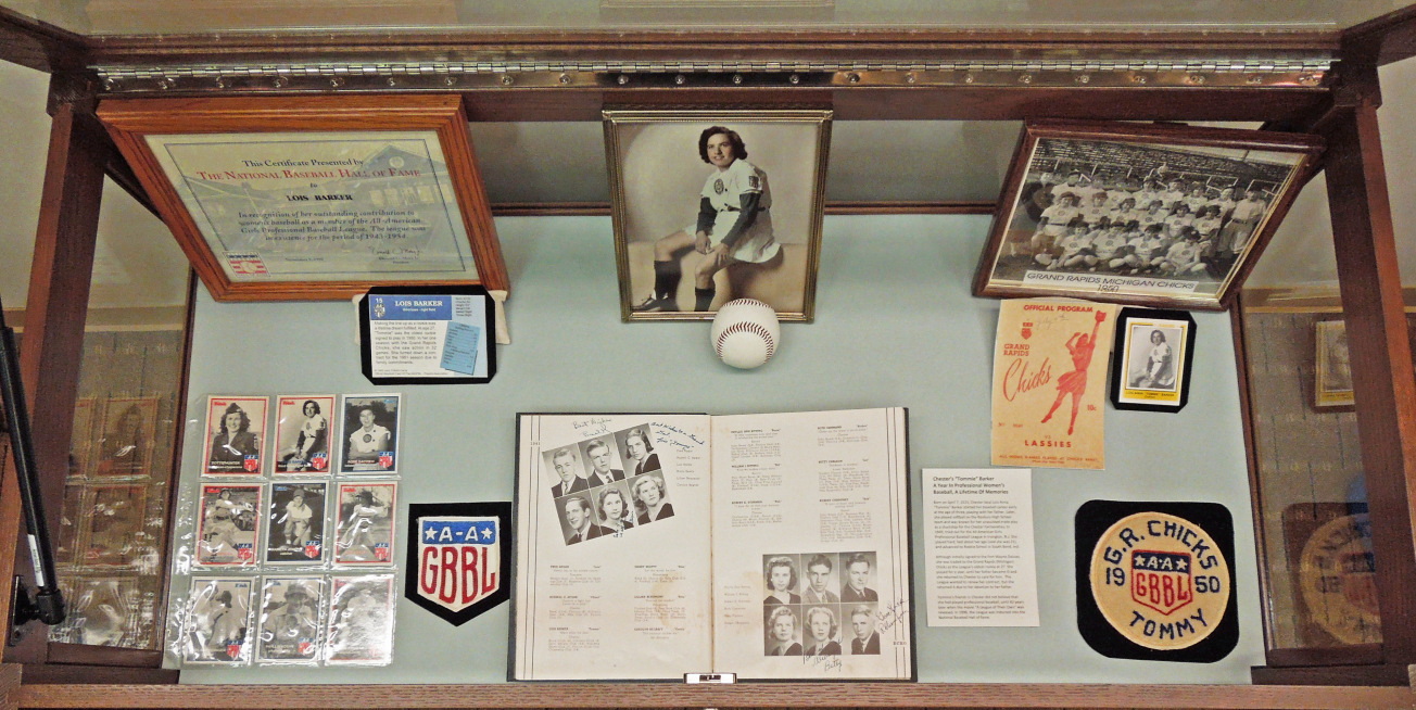 "Chester's ""Tommie"" Barker -- A Year In Professional Women's Baseball, A Lifetime Of Memories Exhibit, contains photos, uniform patches, Roxbury H.S. yearbook, baseball cards, and Baseball Hall of Fame certificate"