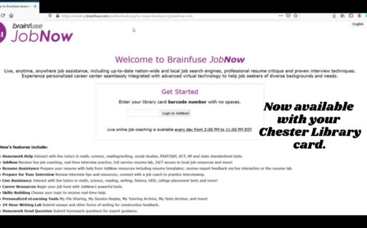 JobNow, powered by Brainfuse, provides Resume & Career Assistance Using Your Library Card.